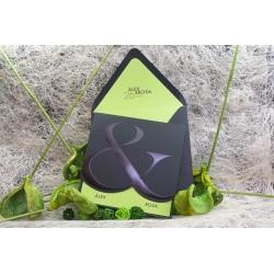 Invitacion de boda negro y verde