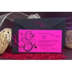 Invitacion de boda tribal fucsia hojas