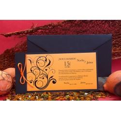 Invitacion de boda tribal naranja