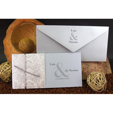 Invitacion de boda tribal plata
