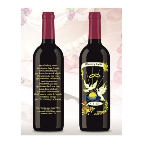 Botella de Vino personalizada Boda Amor eterno