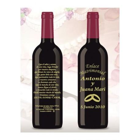 Botella de Vino personalizada Boda Enlace Matrimonial