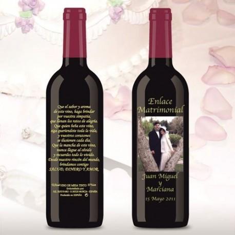 Botella de Vino personalizada Boda Foto Novios