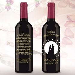 Botella de Vino personalizada Boda Estrellas