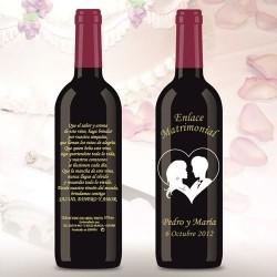 Botella de Vino personalizada Boda Novios Corazon