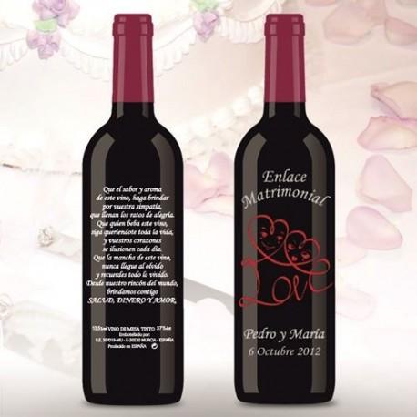 Botella de Vino personalizada Boda Love