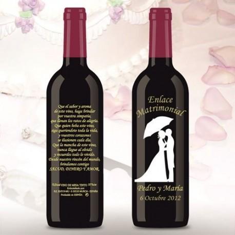 Botella de Vino personalizada Boda Novios bajo la lluvia