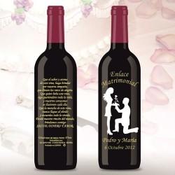 Botella de Vino personalizada Boda Declaración de Amor