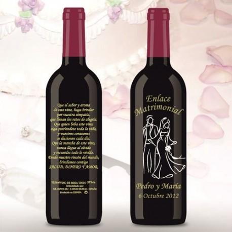 Botella de Vino personalizada Boda Elegante