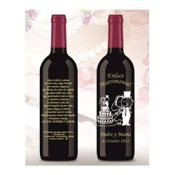 Botella de Vino personalizada Boda Pita Tarta Novios