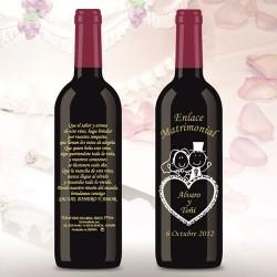 Botella de Vino personalizada Boda Pita Corazón