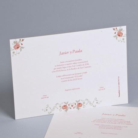 Invitación de boda rosas tribales
