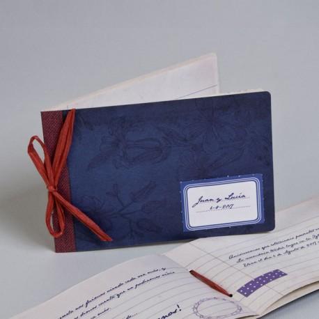 Invitación de boda libreta azul boda
