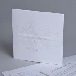 Invitación de boda portada tribal blanca