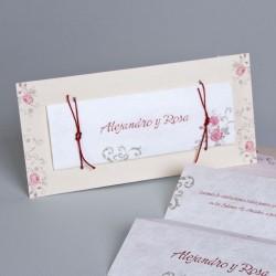 Invitación de boda Ginza rosas claras