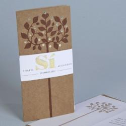 Invitación de boda arbol portada marrón