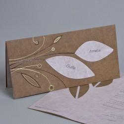 Invitación de boda hojas nombres portada