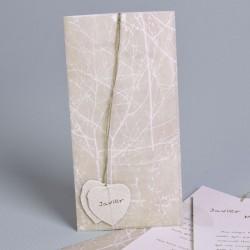 Invitación de boda tronco y hojas