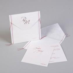 Invitación de boda cosida roja