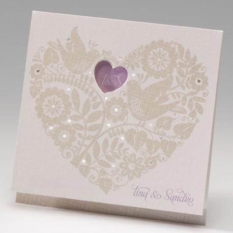 Invitación de boda corazón palomas