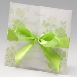 Invitación de boda verdes rosas