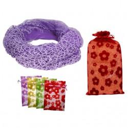 pañuelo cuello rejilla + bolsa tull flores (8536)