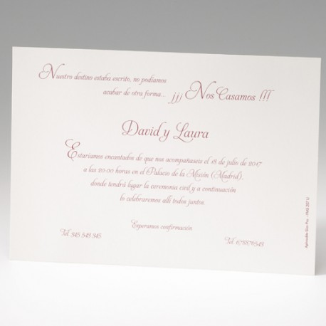 Invitación de boda tarjetón clásico