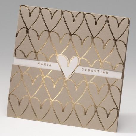 Invitación de boda corazones mosaico