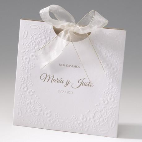 Invitaci n de boda elegante lazo marfil detalles de boda - Detalles de boda elegantes ...