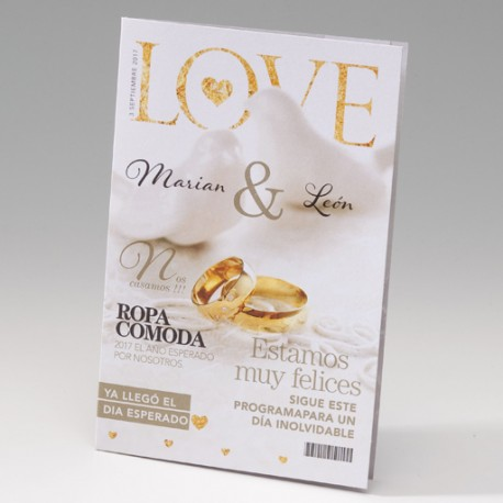 Invitación de boda revista LOVE