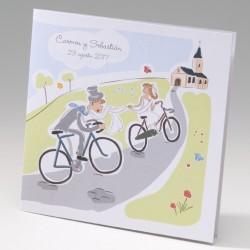 Invitación de boda novios vuelta ciclista