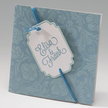 Invitación de boda cartel portada azul