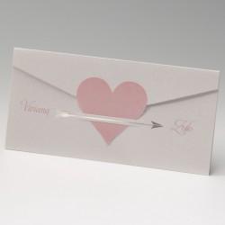 Invitación de boda corazón con flecha