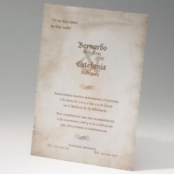 Invitación de boda pergamino renacentista