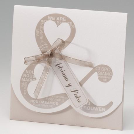 Invitación de boda letras lazo