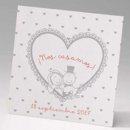 Tarjeta complemento invitción de boda corazones comic
