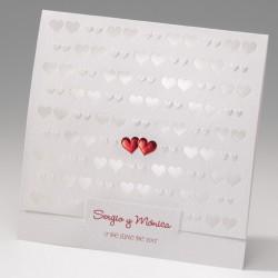 Invitación de boda corazones portada