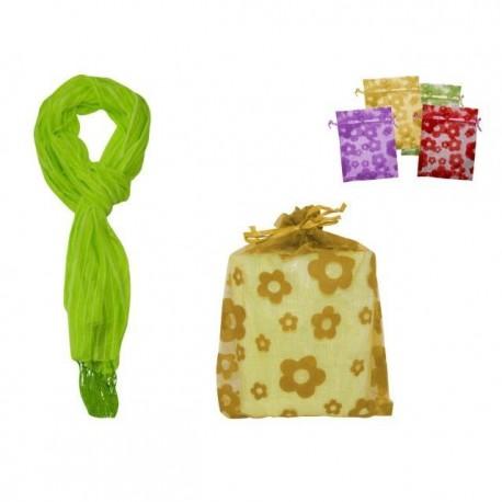 Foulard de de rayas con flecos + bolsa tull flores 8535