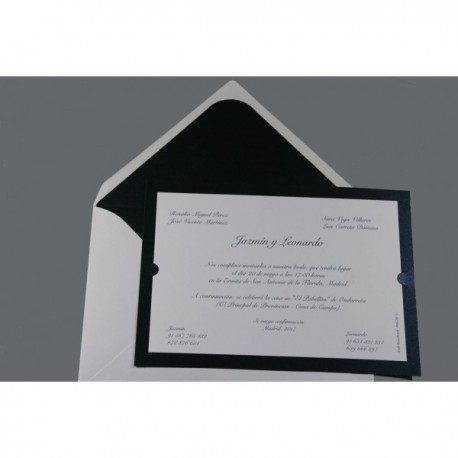 Invitación de boda tarjetón fondo negro
