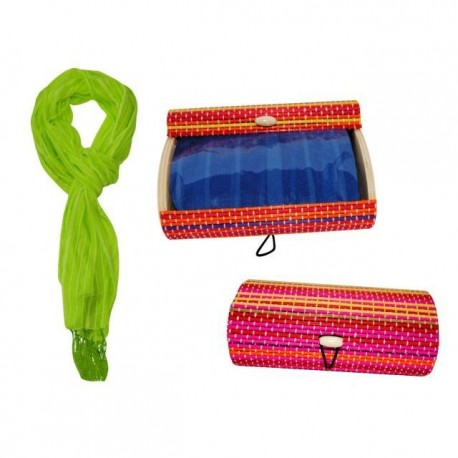 Foulard de de rayas con flecos + caja madera colorines 8517