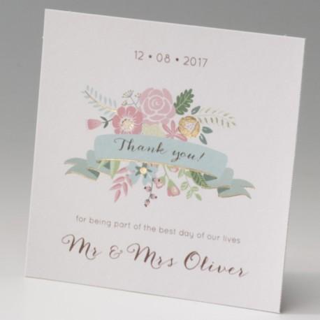Tarjeta complemento invitción de boda corazón de flores