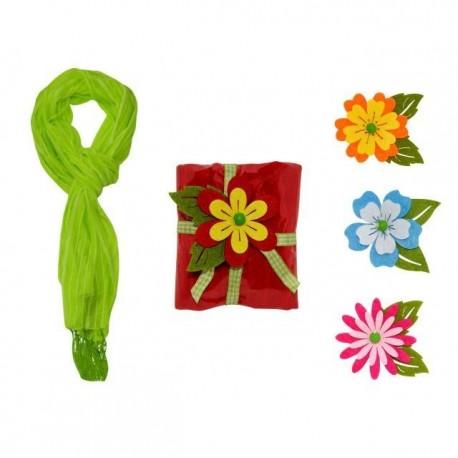 Foulard de de rayas con flecos + flor fieltro cuadrado 8500