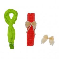 Foulard de de rayas con flecos + lazo tela beig 8510