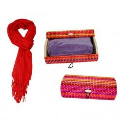Pashmina de lino mediana + caja madera colorines 8517