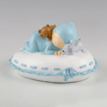 Figura para pastel + hucha bebé almohada azul
