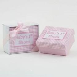 Caja mis 1os zapatos vichy rosa