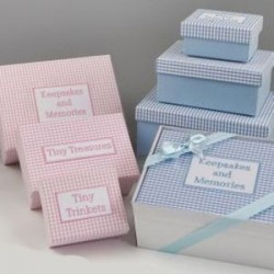 Set 3 cajas vichy azul