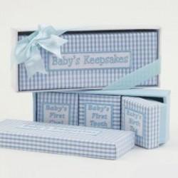 Set 4 cajas vichy azul
