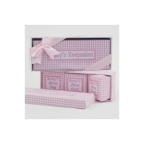 Set 4 cajas vichy rosa