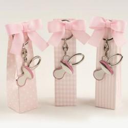 Caja topos, rayas y cuadros rosa llavero chupete